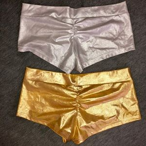 Metallic Rave Booty Shorts Silver And Gold